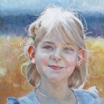 Gemälde von Julia Belot: Kinderportait, Julia, Öl auf Leinwand, 40 cm x 40 cm, 2019