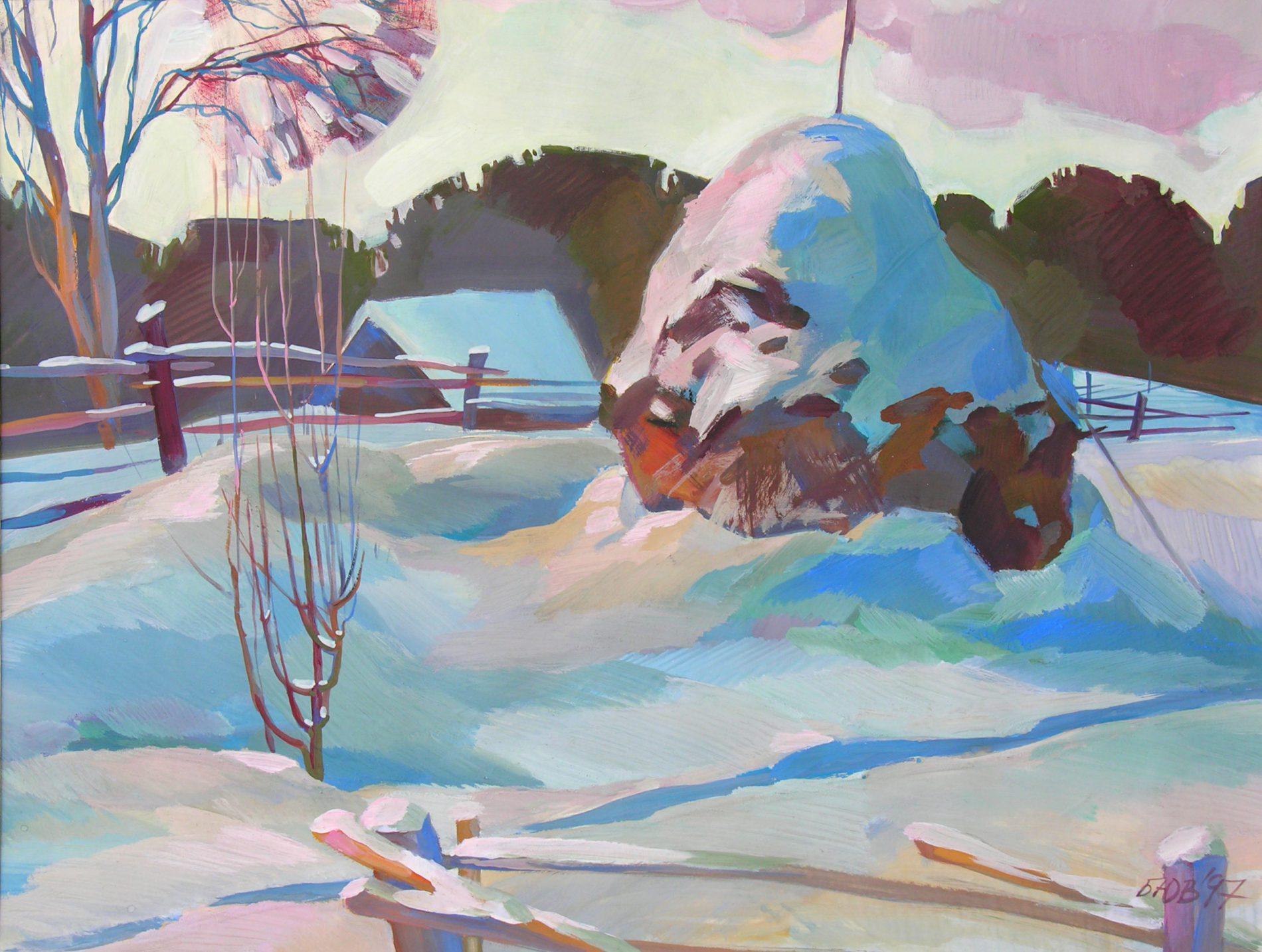 Gemälde von Julia Belot: Heuhaufen in Rosa, Gouache auf Papier, 43 cm x 56 cm, 1997
