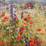 Gemälde von Julia Belot: Mohnwiese (2), Öl auf Leinwand, 100 cm x 270 cm, 2019