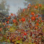 Gemälde von Julia Belot: Feuerwinde, Öl auf Leinwand, 50 cm x 50 cm, 2020
