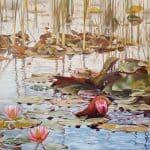 Gemälde von Julia Belot: Seerosen (III), Öl auf Leinwand, 110 cm x 145 cm, 2020