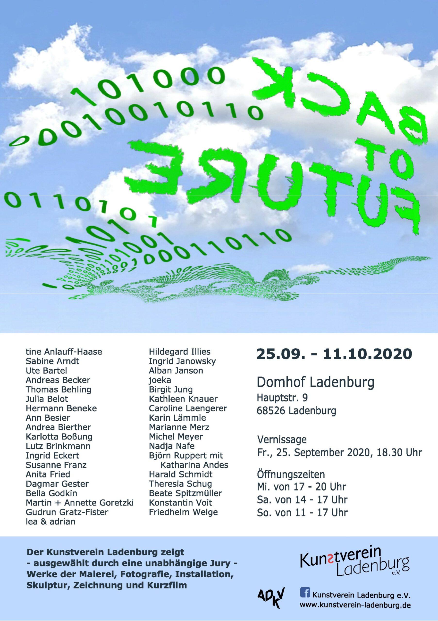 Abbildung des Ausstellungsplakats - Back to Future - zur Ausstellung im Kunstverein Ladenburg im September 2020