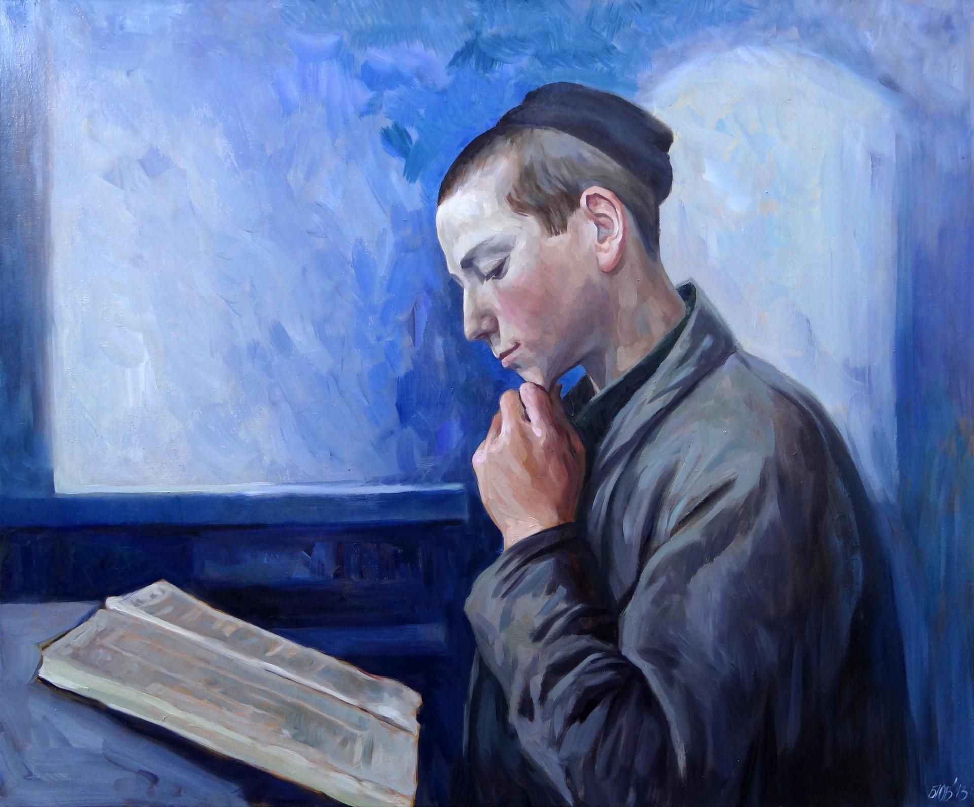 Gemälde von Julia Belot: Lesender Junge, Öl auf Leinwand, 100 cm x 120 cm, 2013