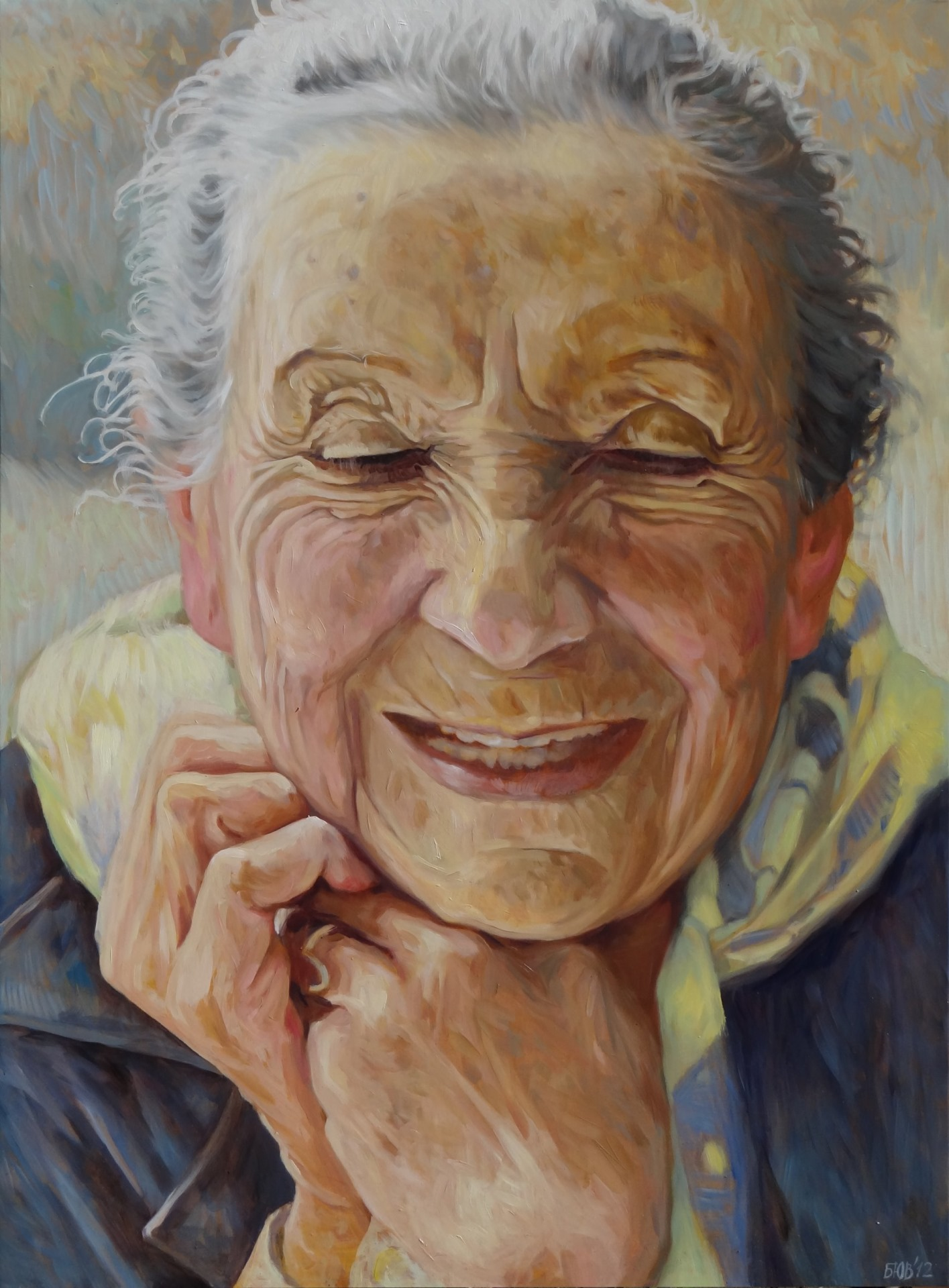 Gemälde von Julia Belot: Lucia Moholy, Öl auf Leinwand, 140 cm x 100 cm, 2012